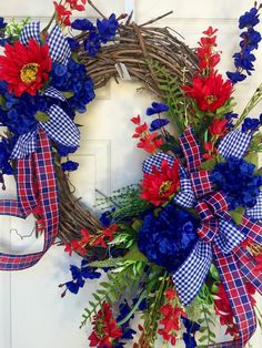 Red and Blue Round Summer or Spring Grapevine Wreath by WilliamsFloral on Etsy https://www.etsy.com/listing/272801080/red-and-blue-round-summer-or-spring
