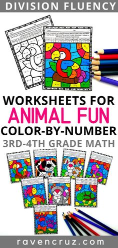 Pet-themed division color by number worksheets for your students to practice division fluency. 3rd Grade Math Worksheets, Number Worksheets, Math Crafts, Math Projects, Math Rotations, Math Centers, Math Activities, Science Resources, Common Core Math Standards