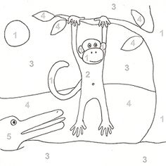Color By Number and More Printable Coloring Pages: Color by Number Chimpanzee (via Parents.com)