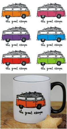The Great Escape VW Volkswagen bay window camper van coffee mug. Great gift idea for the vagabond who owns a VW camper van or the traveller who always wanted to own one. (Like me!)