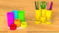 Pennenbakje van wc rollen - Knutsels Voor Kinderen - Leuke Ideeën om te Knutselen met Duidelijke Uitleg Diy Crafts Hacks, Diy And Crafts, Paper Crafts, Diy For Kids, Crafts For Kids, Stationary Organization, Toilet Paper Roll, Make Design, Creative Kids