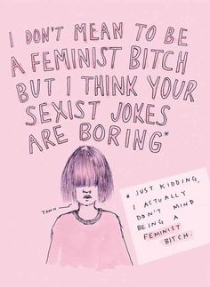 """Summing up her work as """"feminist rants, questionable advice and too much pink"""" the illustrations aim to represent the contradictions felt by many feminists who like to surround themselves with pastel, pretty things."""