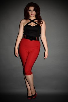 9d1b644b3 Pinup Girl Deadly Dames 50s style Capri Pants in Red at Deadly is the Female  Bad