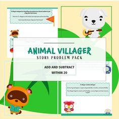 Kindergarten Math Story Problems Pack Animal Villager Theme Etsy Math Story Problems Kindergarten Math Story Problems