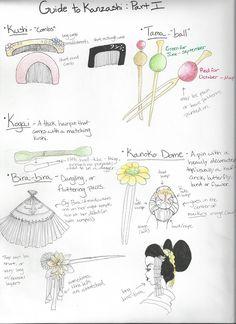 A lady's kanzashi can tell a lot about her or her surroundings. HakugiMasshiro's Guide to Kanzashi: Part 1 Japanese Kimono, Japanese Fashion, Fleurs Kanzashi, Japan Crafts, Asian Eye Makeup, Afro, Natural Hair Styles For Black Women, Korean Art, Traditional Outfits