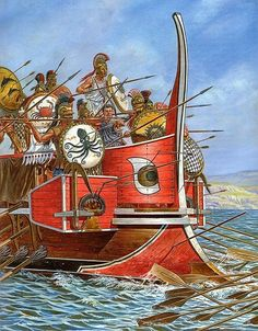 The Battle of Salamis was a naval battle fought between an alliance of Greek city-states under Themistocles and the Persian Empire under King Xerxes in 480 BC which resulted in a decisive victory for the outnumbered Greeks. Ancient Rome, Ancient Greece, Ancient Art, Ancient History, Battle Of Salamis, Greco Persian Wars, Classical Greece, Greek Warrior, Greek History