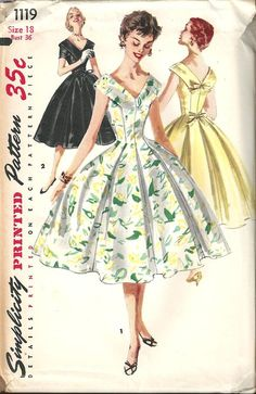 Vintage Sewing Pattern Dress Simplicity 1119