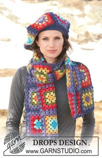 Free pattern for crochet granny square hat and scarf #diy #craft #accessories