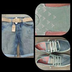 Heren short jeans #Gabba T-shirt #mococo riem #Legend sneakers #Satorisan #zomer #Aan #shoeshoemode #Partnermanvrouwmode