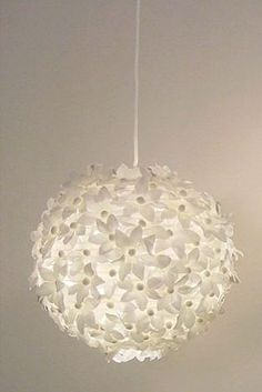 DIY lantern: This could easily be done with a package of white flowers from Joannes wedding department.  There were 300 in the package....Im thinking it would cover a small white lantern with a little glue gun, then some rhinestones for the center of the flowers!  Bling!