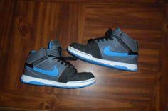 Boys Nike Young Men Size 7 Youth Blue Gray High Tops Basketball / Skateboard