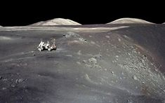 Apollo 17 astronauts Eugene Cernan and Harrison Schmitt collect samples from beside the Shorty crater in 1972. Photo NASA - Aeon, 1-15-16