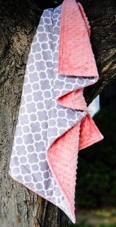 Ready to Ship - Coral & Gray Quatrefoil Stroller Blanket, Modern Minky, Toddler Baby Blanket in Designer Riley Blake Fabric #rileyblakedesigns #quatrefoil