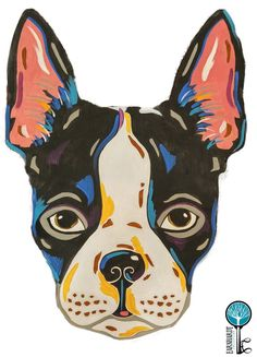 "Paint your own Pop Art Boston Terrier! Fun, do-it-yourself painting kits for beginning painters up to advanced. Each kit includes a wood cutout (average 12"" wide) with painting guidelines lightly lase"