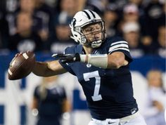 (Rick Egan  |  The Salt Lake Tribune)  Brigham Young quarterback Taysom Hill  prepares to pass for the Cougars,  in football action, BYU vs, UCLA, at Lavell Edwards Stadium earlier this month.