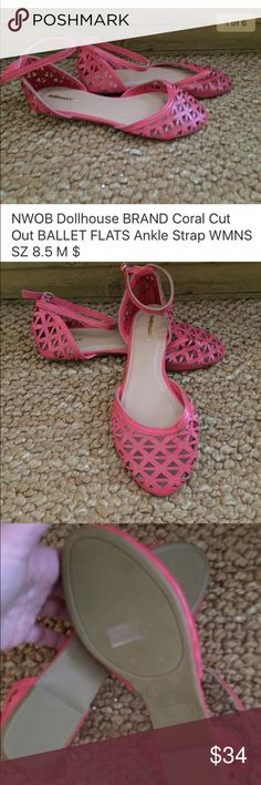"""NWOB Dollhouse Cut Out BALLET FLATS Ankle Strp 8.5 NWOB Dollhouse BRAND Coral Cut Out BALLET FLATS Ankle Strap WMNS SZ 8.5 M $64 100% AUTHENTIC Dollhouse BRAND MSRP $64 Product Details: Size:  Women's size 8.5 M (REGULAR) Condition: NEW WITHOUT BOX, STORE DISPLAY; *See photos for specific detail Designer:  DOLLHOUSE Style NAME: ' Style #/Style Type: CLOSED Toe, Cut out pattern ankle strap ballet flat sandals Height (approximate):  0.5"""" All items come from a CLEAN, SMOKE FREE HOME Dollhouse…"""