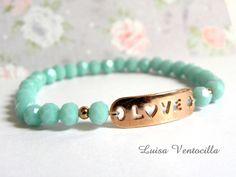 Armband mit facettierten Glasperlen und Rosegold von Luisa Ventocilla Shop auf DaWanda.com
