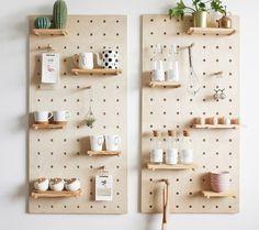 Wooden Pegboard, Pegboard Display, Pegboard Storage, Wooden Diy, Paper Storage, Craft Storage, Paper Furniture, Modular Furniture, Home Furniture