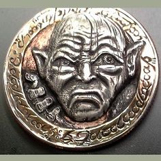 STEPHAN MILES - GOLLUM Hobo Nickel, Making Out, Coins, Carving, Rooms, Wood Carvings, Sculptures, Printmaking, Wood Carving
