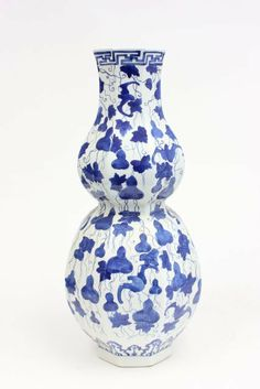 19thc Chinese porcelain double gourd vase-signed