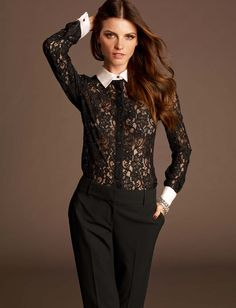 black lace tuxedo shirt with white accents | Fall 2013 Fashion. Just bought today and LOVE it!