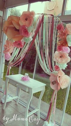 Pretty flower arch at a birthday party! See more party planning ideas at CatchMyParty.com!