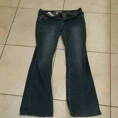 ymi brand jeans dark blue Jean color sexy fit two darker water marks on right leg YMI Jeans Flare & Wide Leg