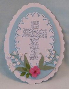 handmade Easter card: Egg card with cross ... blue and white with die cut flower decoration ... cross with sentiments ... lovely!!