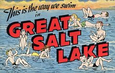 From our collection of vintage large letter, linen postcards from the 1930s and 1940s: Great Salt Lake. The postcard has been carefully scanned and retouched to look beautiful at even the largest prin