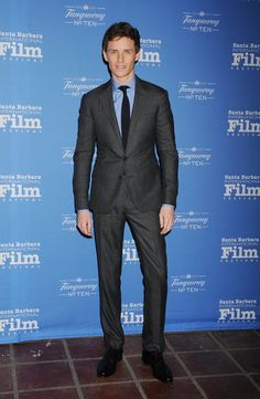 Pin for Later: It's Official: No One Wears a Suit Better Than Eddie Redmayne  Eddie ditched the white shirt for a sky blue one at the 30th Santa Barbara International Film Festival.