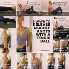 Release Muscle Knots with easy Self Massage with a tennis ball tips. Massage Tips, Self Massage, Massage Therapy, Sciatica Exercises, Back Pain Exercises, It Band Stretches, Calf Stretches, Low Back Stretches, Stretching