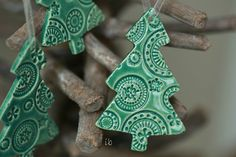 Christmas Tree Ornaments Lace Ceramic Christmas Ornaments  Mint Winter Home Decoration Gift Set of 3