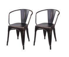 GIA Metal Dining Chairs with Back - Tolix Style