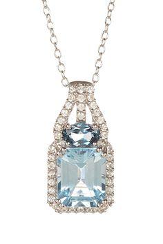 Sterling Silver Sky Blue Topaz, London Blue Topaz, & Created White Sapphire Pendant Necklace