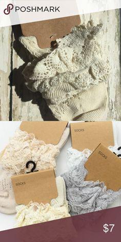Cute off white crochet lace ankle socks Cute off white crochet lace ankle socks Accessories Hosiery & Socks