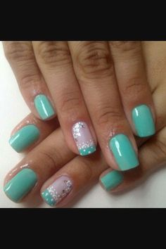 Funky Nails, Love Nails, How To Do Nails, Pretty Nails, Mint Green Nails, Aqua Nails, Teal Green, Nail Art 2014, Nails 2014