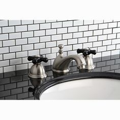 Restoration Onyx Double Handle Widespread Bathroom Faucet with Pop-Up Drain | Wayfair