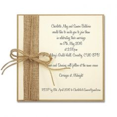 Rustic Burlap Layered Square Invite
