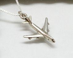 Silver Airplane Necklace, Sterling Silver. $25.95, via Etsy.