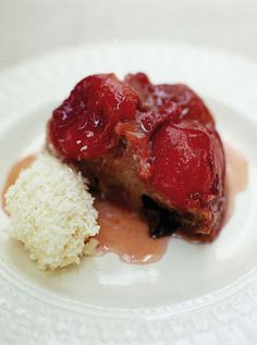 Plum upside-down cake With cheat's coconut ice cream Beautifully sticky plums bring rich colour and depth to this classic upside-down cake