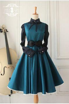 Cheap Dark Blue Vintage Hepburn Impression Elegant Classic Lolita Dress - Fashion Lolita Dresses & Clothing Shop Source by ArtsParadis Kleider elegant Kawaii Fashion, Lolita Fashion, Cute Fashion, Rock Fashion, Vintage Fashion, Fashion Styles, Fashion Fashion, Trendy Fashion, Pretty Outfits