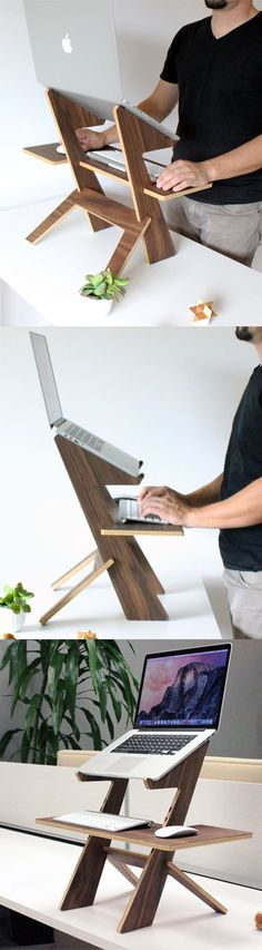 DIY computer desk ideas - do you want to make your own computer desk for your room or dorm? This is 21 list of DIY computer desk ideas with plans for your guide! Cnc Projects, Woodworking Projects, Projects To Try, Deco Design, Wood Design, Wood Furniture, Furniture Design, Colonial Furniture, Office Furniture