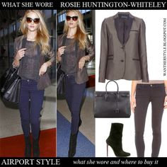 Rosie Huntington-Whiteley in satin micro graphic print jacket, sheer top, blue jeans, black tote and suede ankle boots