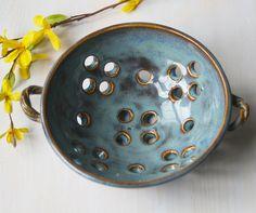 Berry Bowl  Ceramic Colander  Handmade Pottery  by sheilasart, $40.00