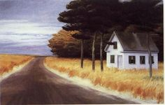 Edward Hopper:  I've pinned this painting several times. For me, there is a great mystery about it--the cloudy day, the yellow fields, the unoccupied house, no people. And the dark under the trees. Note by Roger Carrier