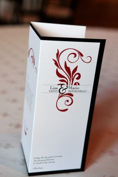 Asian inspired red and black tri-fold wedding programs | villasiena.cc