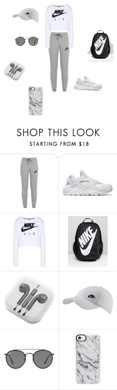 """""""Gym outfit."""" by joanaaguas2002 on Polyvore featuring NIKE, PhunkeeTree, Ray-Ban, Casetify, outfit, nike and gym"""