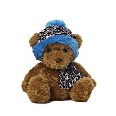 "9"" Aurora Plush Brown Teddy Bear Blue Leopard Holiday Stuffed Animal Toy 09837 #Aurora"