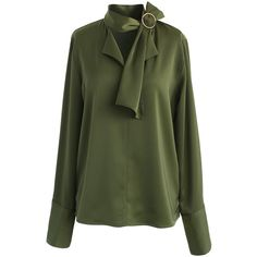 Chicwish Give in to Elegance Smock Top in Olive (€42) ❤ liked on Polyvore featuring tops, blouses, green, green blouse, green top, loose blouse, emerald green blouse and smocked top