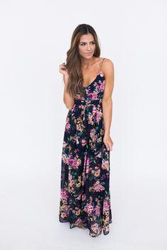 Floral Open Back Maxi Dress- Navy - Dottie Couture Boutique